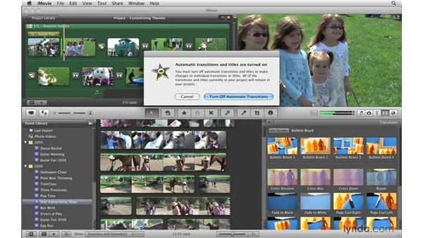 Changing theme element poster frames: iMovie '09 Essential Training