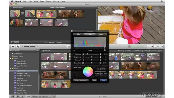 Enhancing exposure with Levels controls: iMovie '09 Essential Training