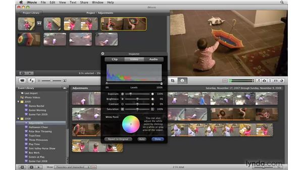 Enhancing color balance with White Point controls: iMovie '09 Essential Training
