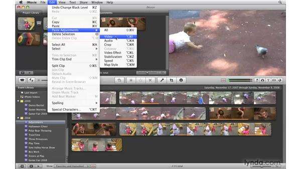 Applying adjustments to multiple clips: iMovie '09 Essential Training