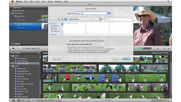 Sharing your projects with Final Cut Pro Editors: iMovie '09 Essential Training