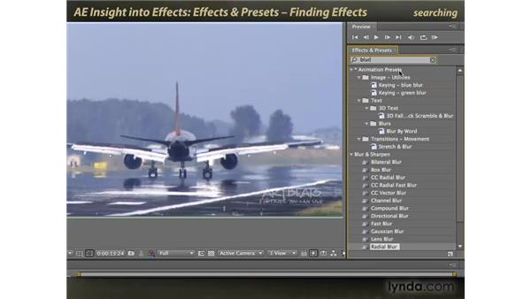 The Effects & Presets panel: finding effects: After Effects: Insight into Effects