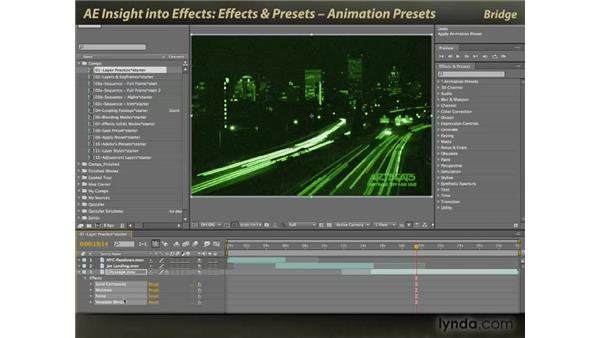 The Effects & Presets panel: animation presets: After Effects: Insight into Effects