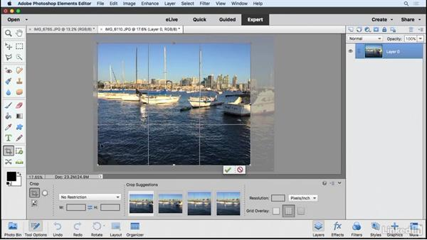 Straightening and cropping a photo: Learning Photoshop Elements 15