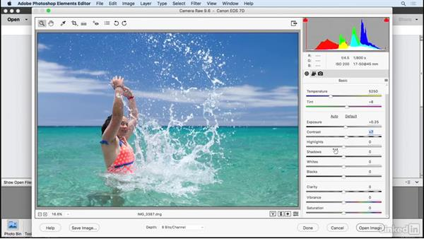 Editing a RAW image: Learning Photoshop Elements 15
