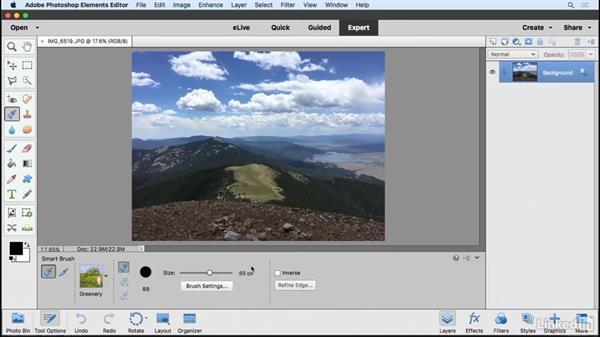 Using the Smart brush: Learning Photoshop Elements 15