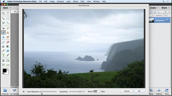 Removing haze from an image: Learning Photoshop Elements 15