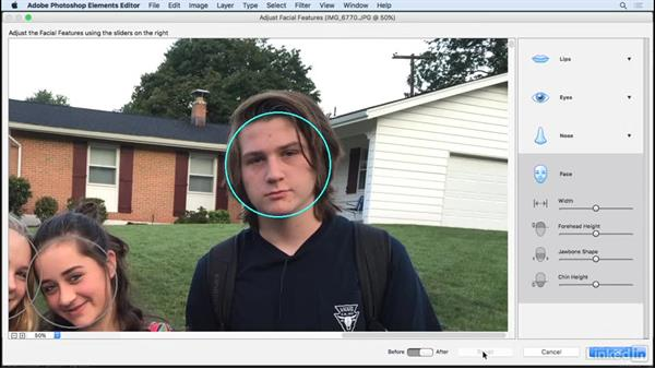 Adjust facial features: Learning Photoshop Elements 15