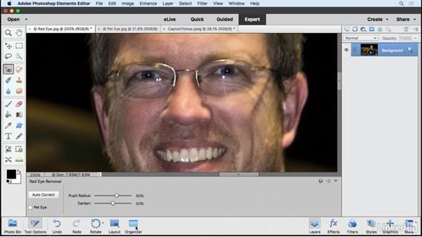 Removing red eye and pet eye: Learning Photoshop Elements 15