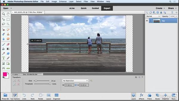 Resizing using the Recompose tool: Learning Photoshop Elements 15