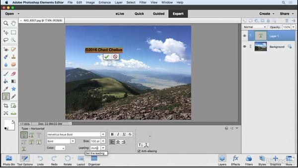 Adding text to an image: Learning Photoshop Elements 15