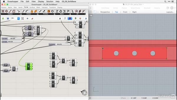 Extruding solid top and frets: Rhino for Mac Essential Training