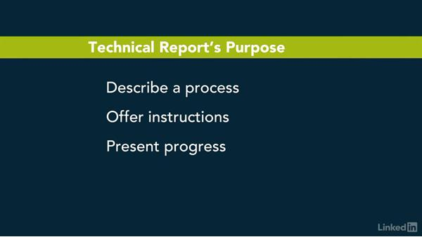 Identify the purpose and main point: Writing Technical Reports
