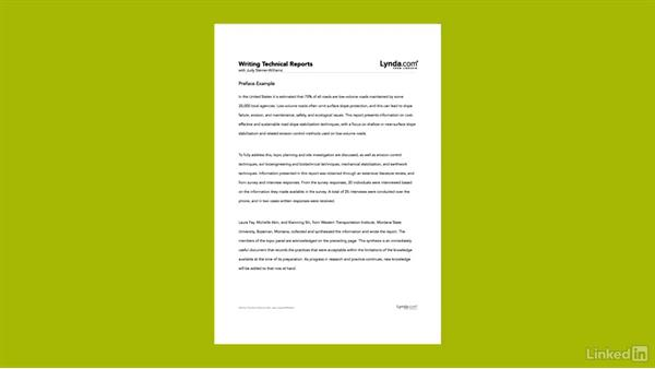 Optional sections of technical reports: Writing Technical Reports