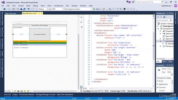 Use some type converters: Microsoft XAML Fundamentals 3: Type Converters and Resources