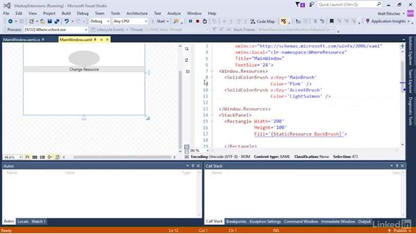 Use resource with the StaticResource markup extensions: Microsoft XAML Fundamentals 3: Type Converters and Resources