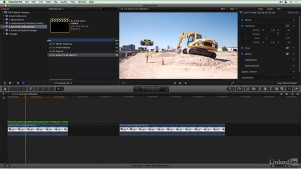 Jump cuts at markers: Final Cut Pro X Guru: Creating Speed Changes
