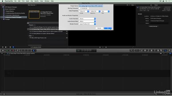 Using the high frame rate (HFR) material natively: Final Cut Pro X Guru: Creating Speed Changes