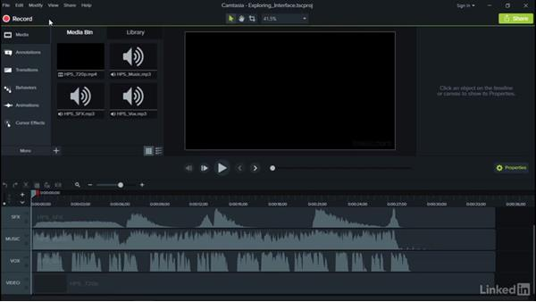 Exploring the interface: Camtasia 9 for Windows Essential Training