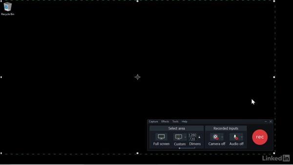 Choosing a capture area: Camtasia 9 for Windows Essential Training