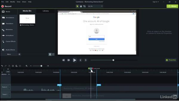 Removing distractions: Camtasia 9 for Windows Essential Training