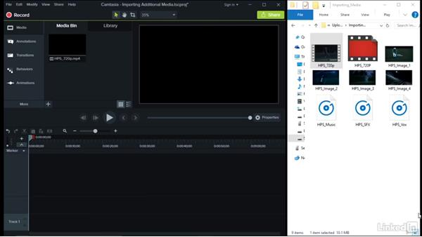 Importing additional media: Camtasia 9 for Windows Essential Training