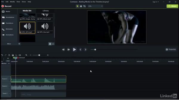 Adding media to the timeline: Camtasia 9 for Windows Essential Training