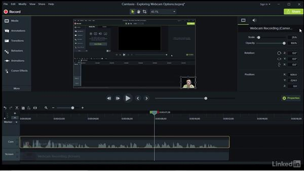 Exploring webcam video options: Camtasia 9 for Windows Essential Training