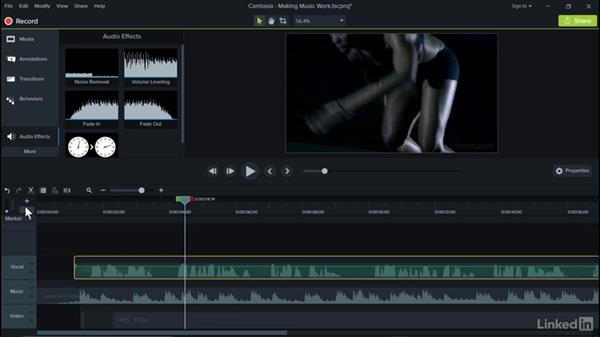 Making music work: Camtasia 9 for Windows Essential Training