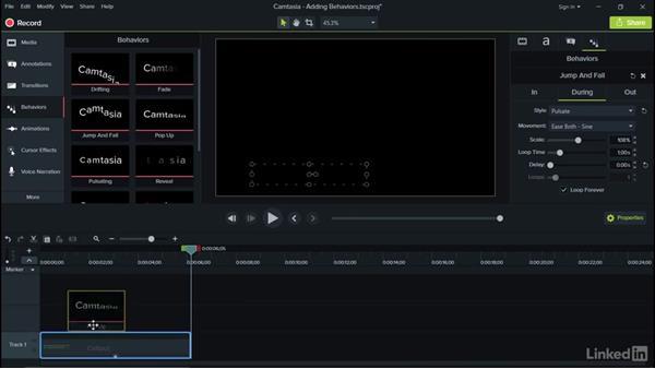 Adding behaviors: Camtasia 9 for Windows Essential Training