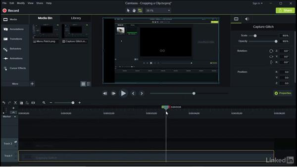 Cropping a clip: Camtasia 9 for Windows Essential Training