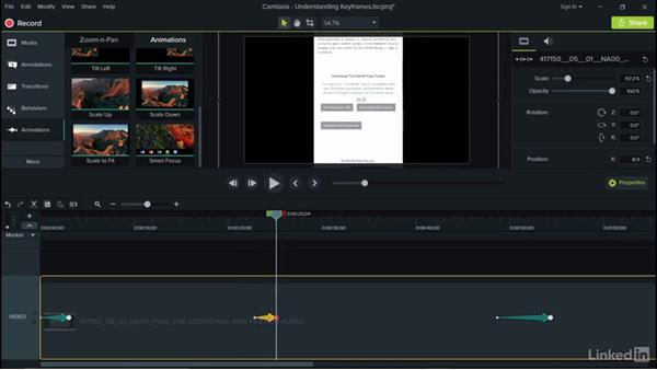 Understanding keyframes: Camtasia 9 for Windows Essential Training