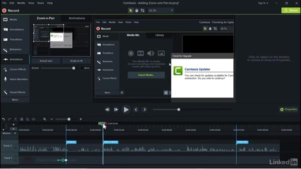 Adding zoom and pan: Camtasia 9 for Windows Essential Training
