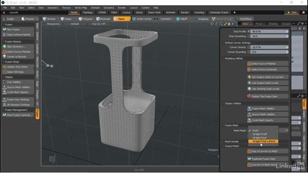 Converting a fusion model to a mesh: MODO Essential Training