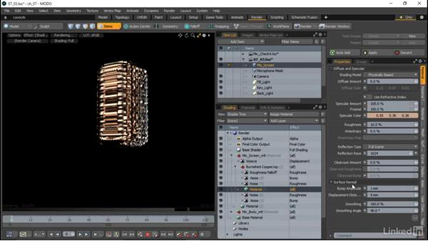 Material properties in the Shader Tree: MODO Essential Training