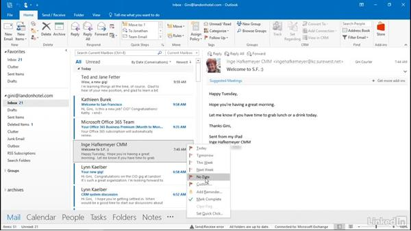 Flag messages for a to-do list: Outlook 2016: Advanced Tips and Tricks