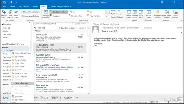 Work with folders and subfolders: Outlook 2016: Advanced Tips and Tricks