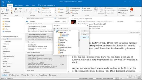 Stay organized with shortcut keys: Outlook 2016: Advanced Tips and Tricks
