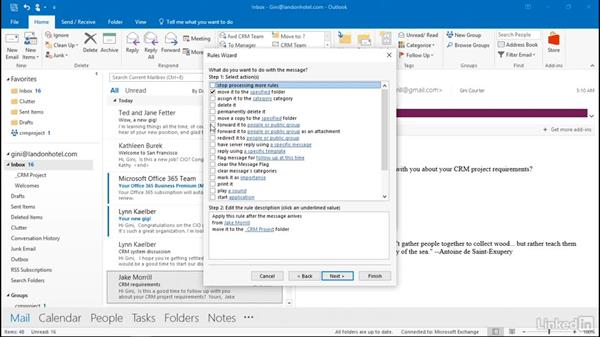 Automate rules for incoming messages: Outlook 2016: Advanced Tips and Tricks