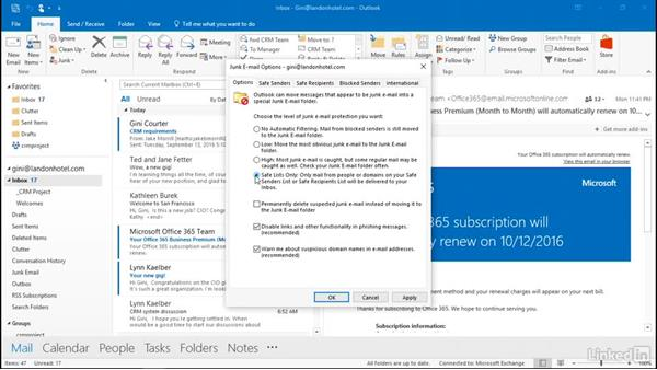 Deal with junk mail: Outlook 2016: Advanced Tips and Tricks