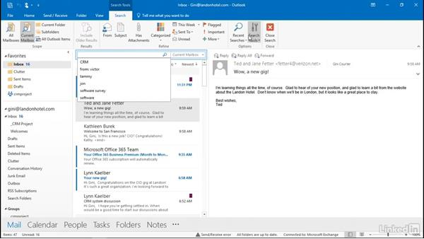 Find an email: Outlook 2016: Advanced Tips and Tricks