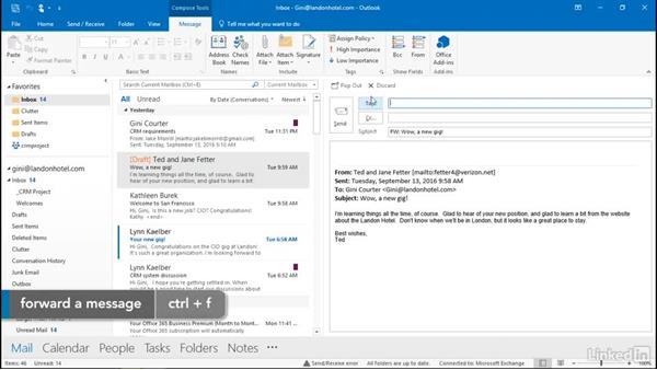 Shortcut keys for sending emails: Outlook 2016: Advanced Tips and Tricks