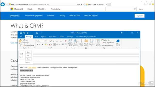 Add a hyperlink to an email: Outlook 2016: Advanced Tips and Tricks