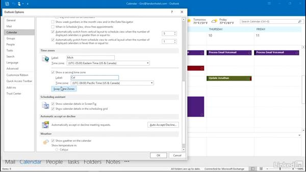 Show two time zones: Outlook 2016: Advanced Tips and Tricks