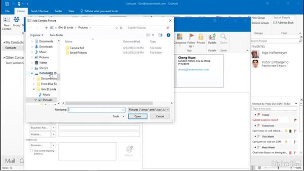 Add a photo to a contact: Outlook 2016: Advanced Tips and Tricks