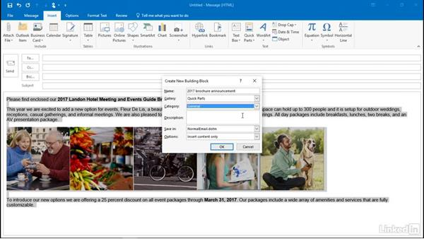 Reuse frequently used text with Quick Parts: Outlook 2016: Advanced Tips and Tricks