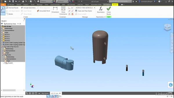 Automatic routing: Autodesk Inventor Routed Systems: Pipes