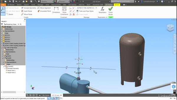 Buidling a route: Autodesk Inventor Routed Systems: Pipes