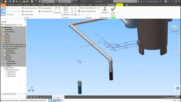 Combining methods: Autodesk Inventor Routed Systems: Pipes