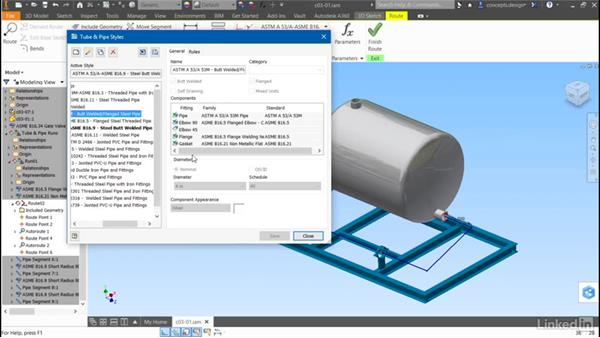 Changing a run style: Autodesk Inventor Routed Systems: Pipes